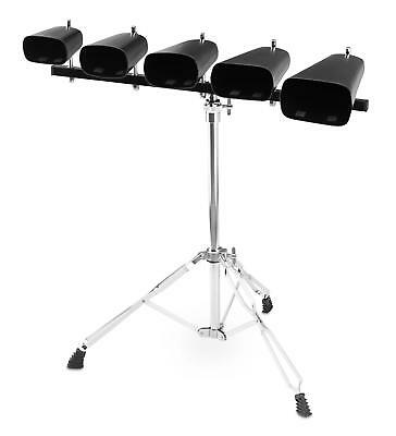 """Complete Cowbell Set 4"""", 5"""", 6"""", 7"""", 9"""" Double Braced Hardware Stand Percussion"""