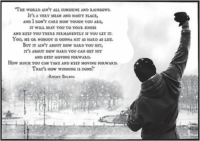 Rocky Balboa Quote Text Large Poster Art Print Black & White in Card or Canvas