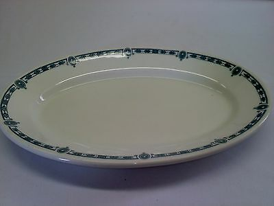 """Iroquois China oval platter, """"Corilan"""", white with painted green border vintage"""