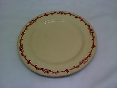 """9"""" IROQUOIS CHINA TAN RESTAURANT PLATE RED FLORAL BAND VINTAGE"""