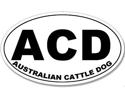 3x5 inch Oval ACD Sticker - Australian Cattle Dog decal blue heeler breed love