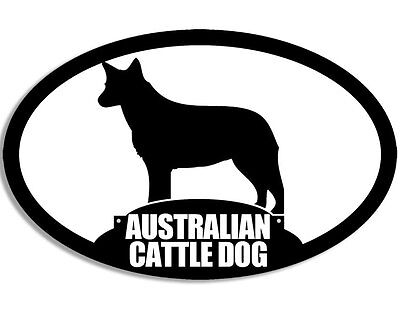 3x5 inch Oval Silhouette AUSTRALIAN CATTLE DOG Sticker - blue heeler acd love my