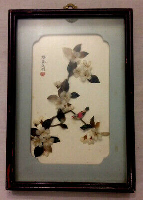 Antique Asian Art Blooming Cherry & Bird Shadow Box Real Feather Signed Stamped