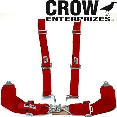 Crow Enterprizes Quick Release Red Seat Belt 3 Inch Lap 2 Inch Shoulders 4 Point
