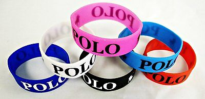 Polo Wristband Silicone Bracelet Black White Red Pink Blue Brand New Sports