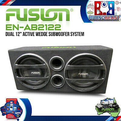 "New Fusion Black Edition En-Ab2122  Dual 12"" Active Bass Pack Sub + Amp +Kit"