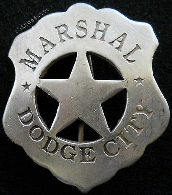 Old west Marshal Dodge City western silver lawman badge #BW10