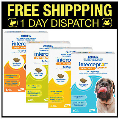 Interceptor Spectrum Heartworm, Wormer For Dogs 6 Chews - All sizes