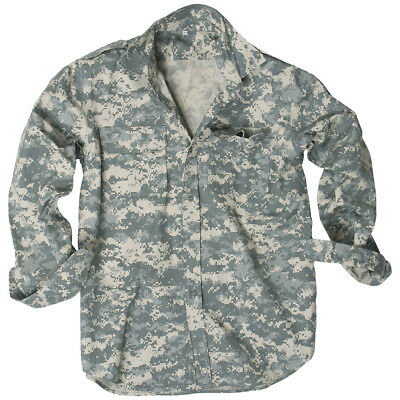 Mil-Tec Mens Long Sleeve Military Shirt Army Airsoft Cotton Top Acu Digital Camo