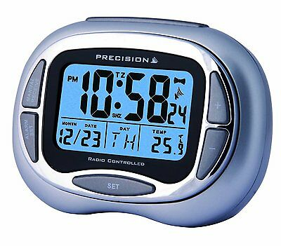 Precision Radio Controlled Alarm Clock With Day,date,month Blue Prec0100