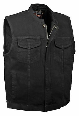 Mens Black Denim Club Motorcycle Vest w/ Snap Zipper Front Gun Pocket Club Style