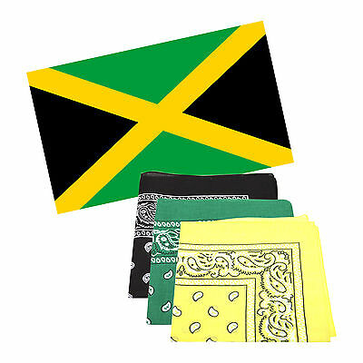 Jamaica 5 x 3 ft Flag with 3 Matching Bandanas