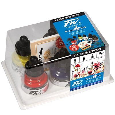 Daler Rowney FW Artist Acrylic Ink Set of 6 Process Colours PLUS Brush, Pencil