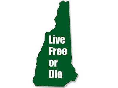 3x5 inch GREEN New Hampshire Shaped LIVE FREE or DIE Sticker  - decal state nh
