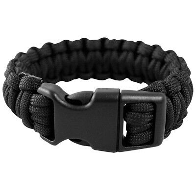 Army Tactical Paracord Wrist Band Bracelet Hiking Emergency Survival Black 15mm