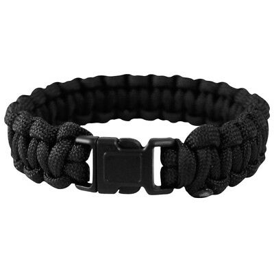Tactical Paracord Army Wrist Band Bracelet Hiking Emergency Survival Black 22mm