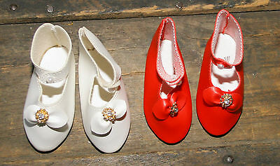 """Lot 6 Pair TALLINA'S Button up Doll Shoes Red/White Size 4 - 3 1/8"""""""