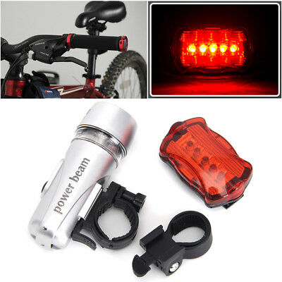 Waterproof 5-Led Lamp Bike Bicycle Front Head Light+Rear Safety Flashlight