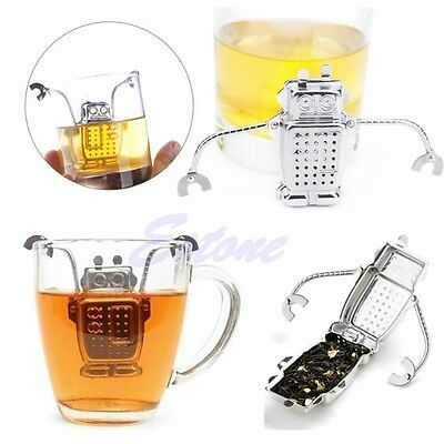 Robot Hanging Stainless Strainer Tea Infuser Loose Herbal Spice Filter Diffuser