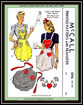 APRON with HEARTS and FLOWERS VTG McCall 1096 Uncut CRAFT Fabric Sewing Pattern
