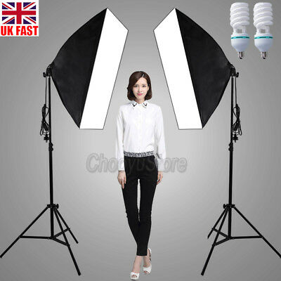1250W Photo Studio Soft Box Continuous Lighting 3X Backdrops Stand Softbox Kit