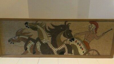 Mid Century Modern Wall Art Roman Gladiator/Chariot/Horses  REALLY UNIQUE