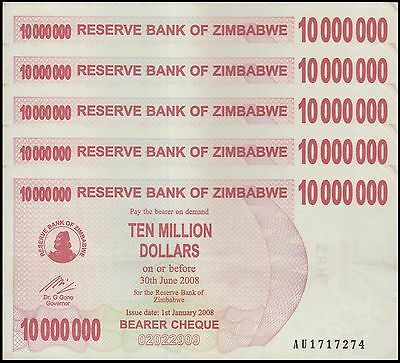 Zimbabwe 10 Million Dollars X 5 Pieces (PCS), 2008, P-55, Circulated, Used