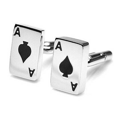 NEW Ace of Spades Playing Cards Poker Silver Novelty Cufflink US Seller!