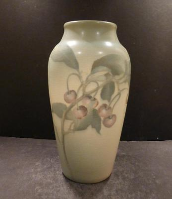 "Rookwood Vellum Vase With Cherries - 9 6/8"" - Ed Diers - MINT"