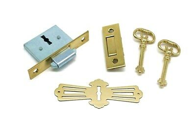 Vintage Roll Top Desk Lock, Full Mortise With Trap Door, Square Corners