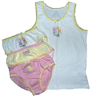 Girls Peppa Pig 3 Pants Briefs Knickers and 1 Vest Set 18-24M up to 5-6Y
