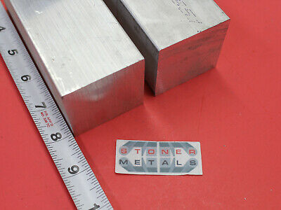 "2 Pieces 2"" X 2"" ALUMINUM 6061 SQUARE BAR 8"" long Solid T6511 New Mill Stock"