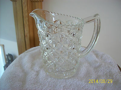 Pitcher Small Elegant Vintage EAPG Diamond Cut Sawtooth Pattern