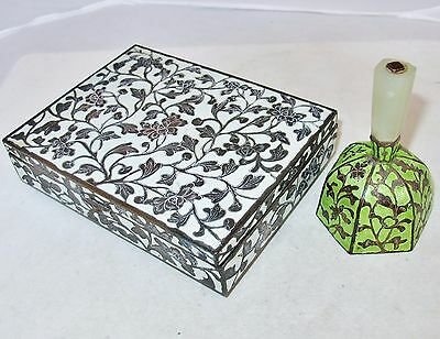 "Antique Chinese 6"" White Enamel Cigarette Box & 3.7"" Green Bell with Serpentine"