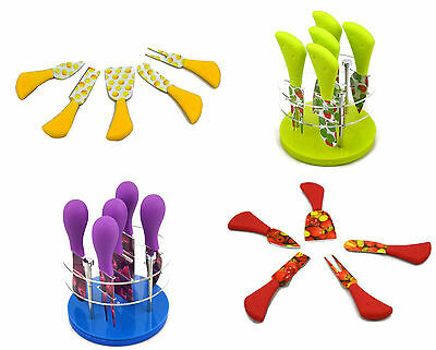 5 Piece Cheese Knife SetSpinning Turntable Stand Stainless Steel Kitchen GIFT