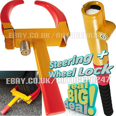 Car Van Caravan Trailer Heavy Duty Wheel Clamp Lock Baseball Steering Wheel Lock