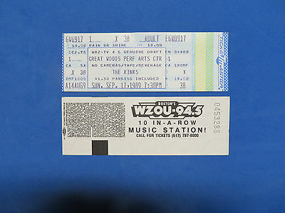 The Kinks Unused Concert Ticket Great Woods Performing Arts Center 9-17-1989