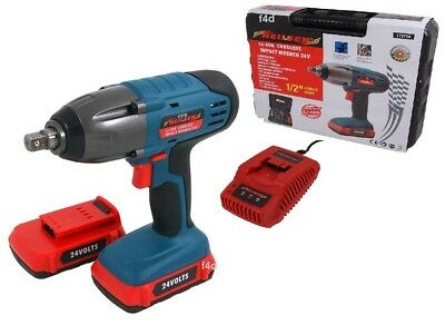 """Heavy Duty 24V Lithium 1/2"""" Cordless Impact Wrench Ratchet & 2 Batteries In Case"""