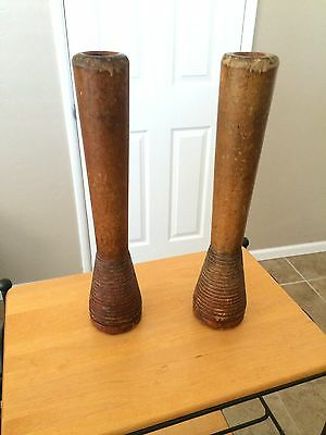 Vintage Two Large Mill Wooden Spool Thread Yarn Spindles