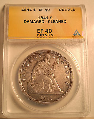 1841 Seated Liberty Dollar Graded EF 40 Details by ANACS