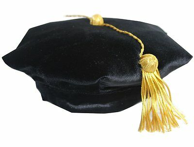 Doctoral Graduation Tam with Gold Bullion Tassel - six sided One Size