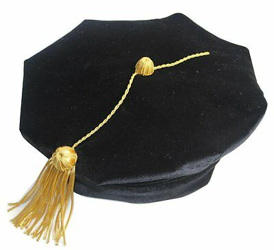 Doctoral Graduation Tam with Gold Bullion Tassel -Eight sided One Size