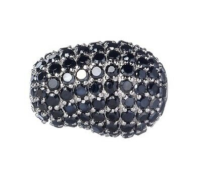 10mm x 15mm Jelly Bean Sterling Silver and Black Cubic Zirconia Stone Bead