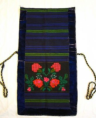 Antique Hand Woven and Embroidered Folk Costume Apron Flowers