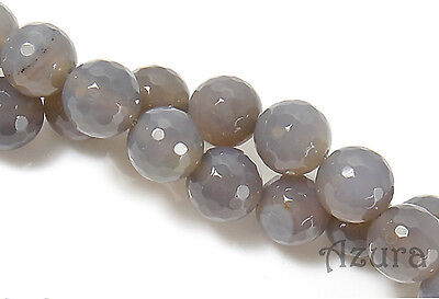 Natural Grey Agate Round Faceted Semi-Precious Gemstone Beads, choose size