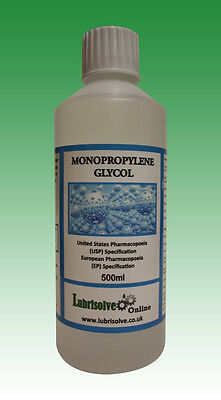 Propylene Glycol (MPG/PG) USP/EP GRADE 99.9% pure (minimum)  - 500ml