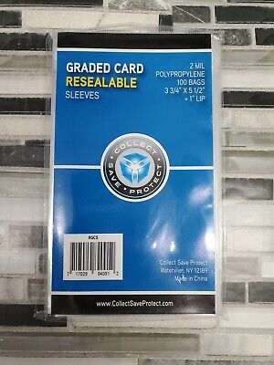 PSA Graded Card Poly Bags 100 Sleeves 3 3/4 X 5 1/2 BGS BECKETT SGC SLABS #0912