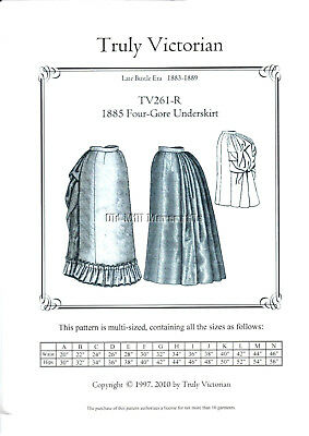 Truly Victorian sewing pattern 1885 Four-Gore underskirt TV261-R