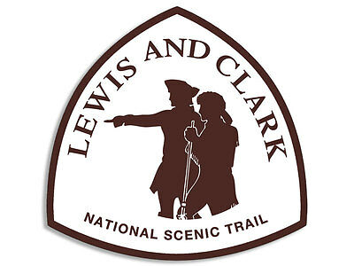 4x4 inch Lewis and Clark National Scenic Trail Sign Shaped Sticker - travel hike