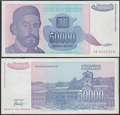 Yugoslavia 50,000 (50000) Dinara, 1993, P-130, Circulated, Used